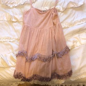Baby Pink Fringe Tiered Dress